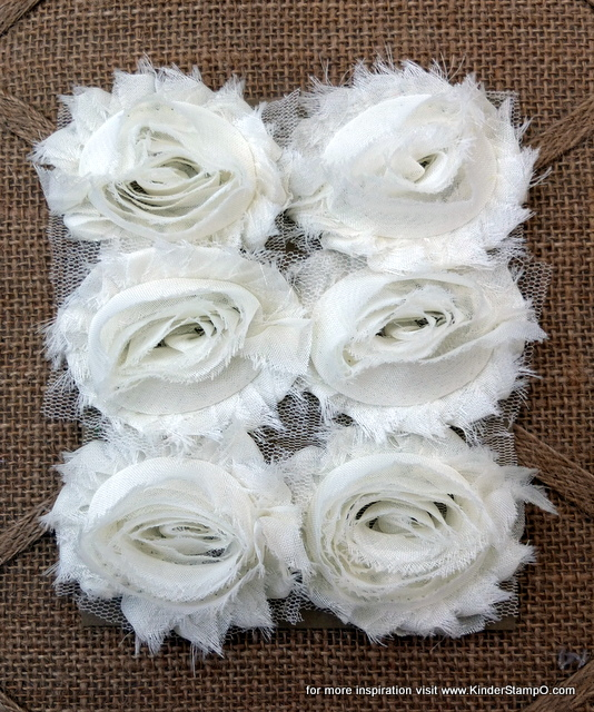 Six Shabby Chic Flowers - Coconut (Cream)