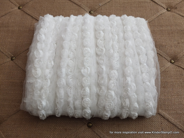 3 feet of Mini Shabby Chic Flower trim - Coconut (Cream)